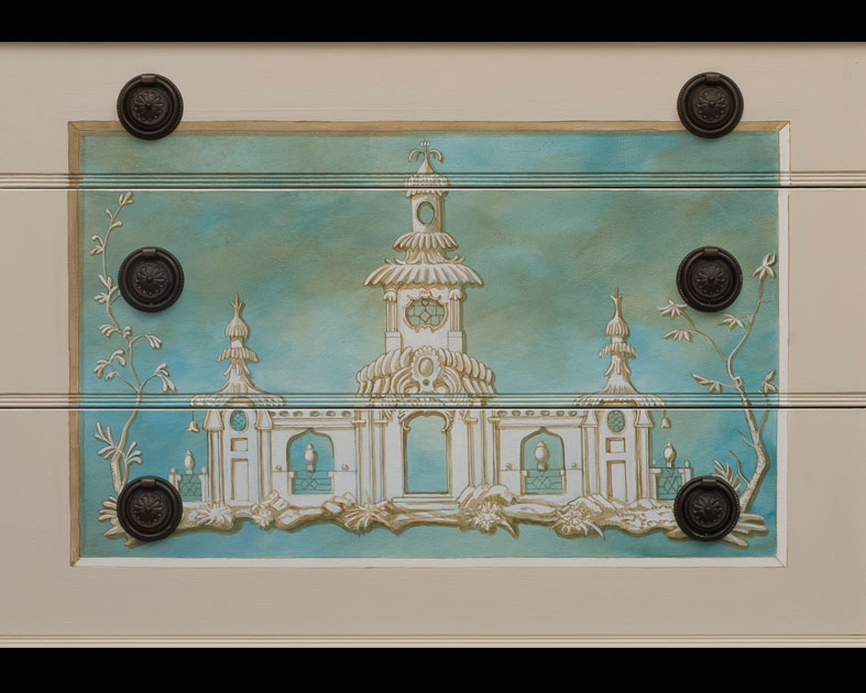 Chinoiserie painted on sideboard