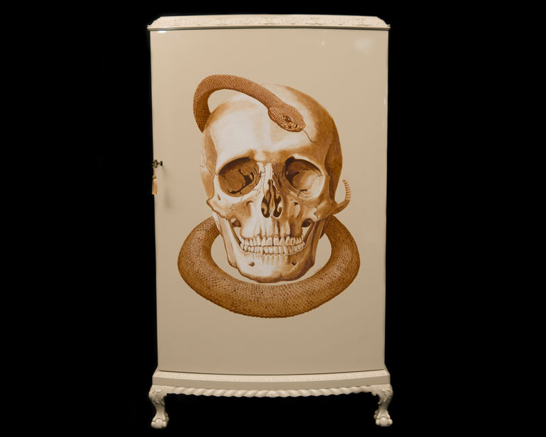 Hope - Skull & Snake painted on Cocktail Cabinet