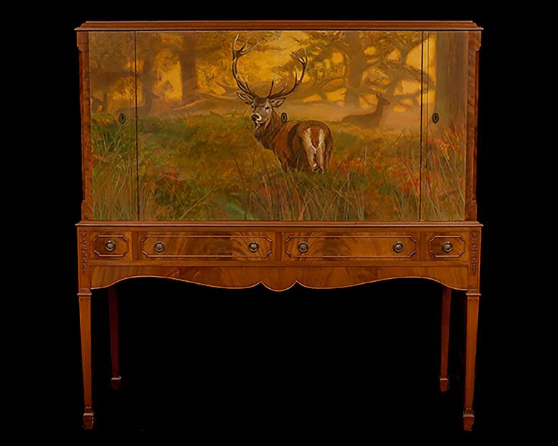 Stag painted on 1920's Cocktail Cabinet