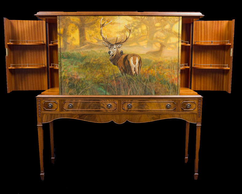 Detail Stag on 1920's Cocktail Cabinet