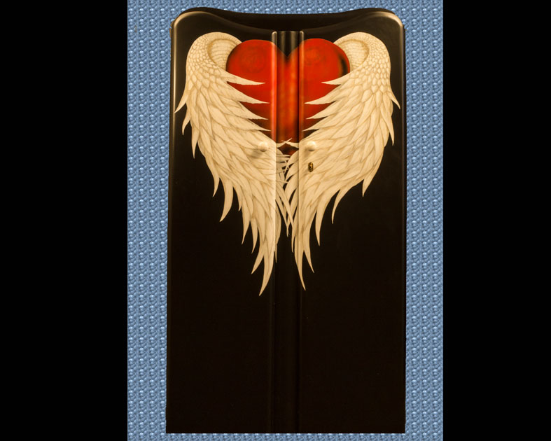 Heart with Wings painted on Wardrobe