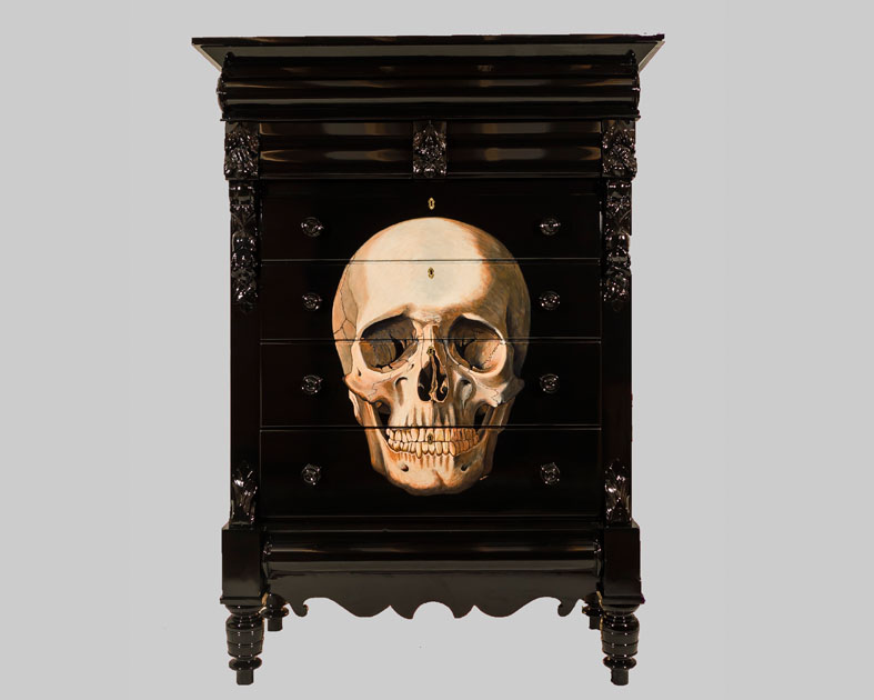 Skull on 1870's Scottish Chest of Drawers