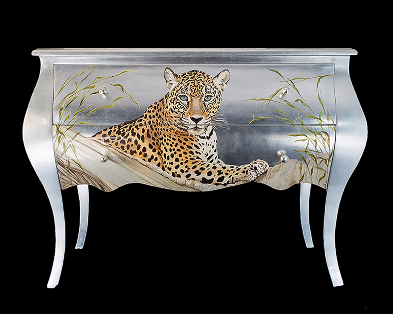 Leopard on Silver leaf sideboard