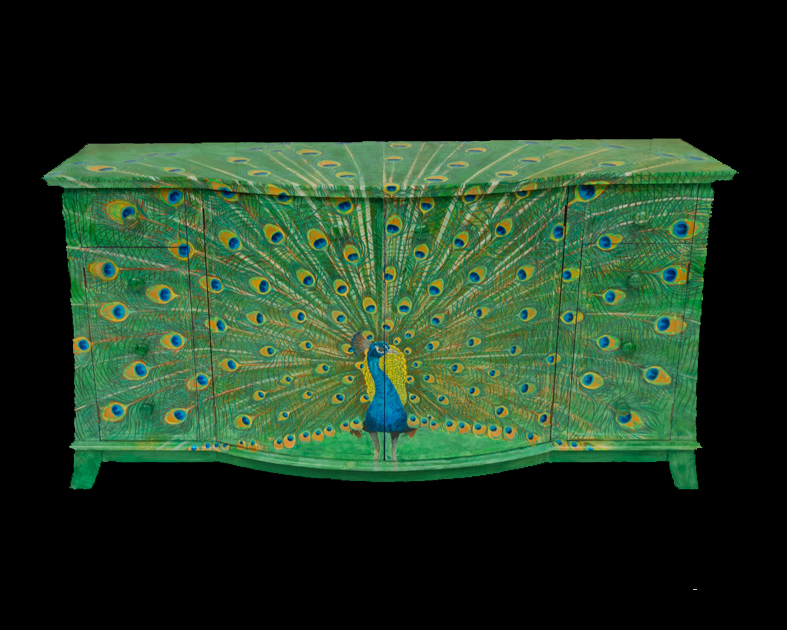 Peacock Painted on Sideboard