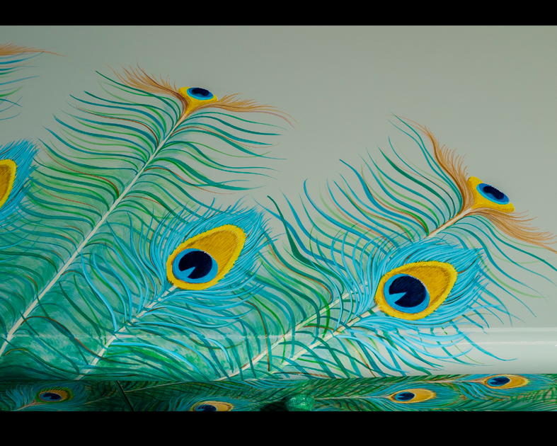 Peacock on nine drawer chest of drawers