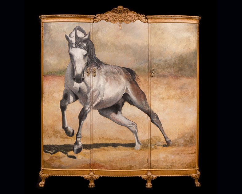 Stallion painted on 1920's Wardrobe