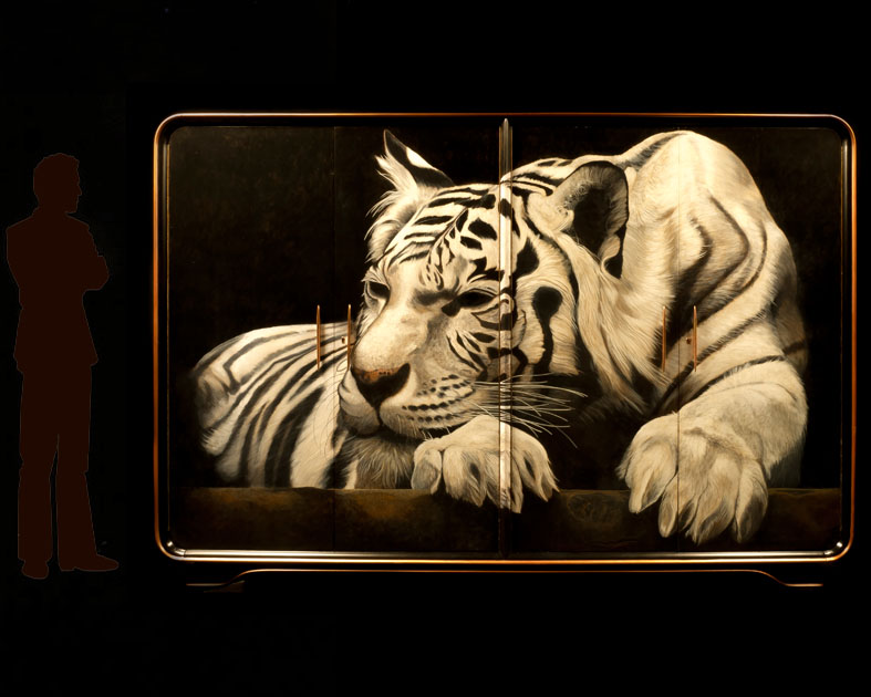 White Tiger painted on 1940's Wardrobe